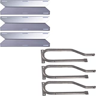 Htanch SN1231(3-Pack) SA3361(3-Pack) Stainless Steel Heat Plate and Burner for Jenn Air 720-0336, 720-0337, 720-0511, 720-0512 and Nexgrill 720-0336, 720-0337, 720-0511, 720-0512, 720-0586A, 730-0337