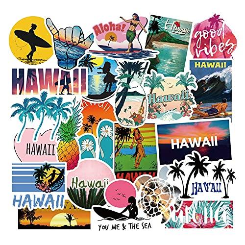 LSGLSG Etiquetas engomadas al aire libre de Hawaii Surf de verano tropical playa surf impermeable DIY tabla de surf coche skate pegatinas 50 unids