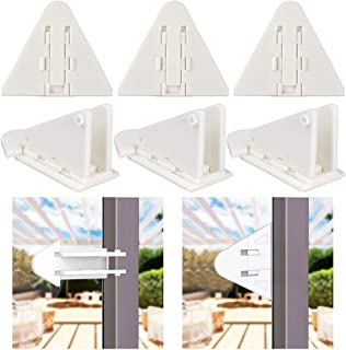 Sliding Door Locks for Baby Safety, Viaky Child Proof Window Lock Strong 3M Adhesive Safety Latch for Sliding Closet/Shower/Patio/Window/Wardrobe(6 Pack, White)