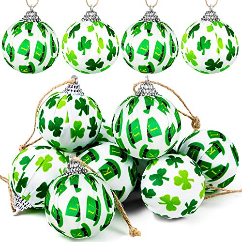 St Patricks Day Ornaments for Tree, Green Shamrocks and Hat Fabric Wrapped Balls for St. Patrick's Day Hanging Decorations, 12 Pieces