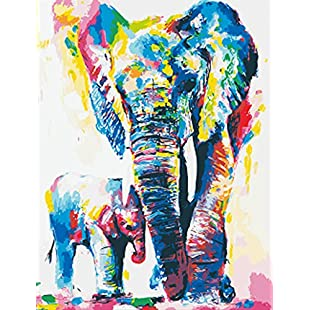 Wowdecor Paint by Numbers Kits for Adults Kids, DIY Number Painting - Colorful Elephants Animal 40 x 50 cm - New Stamped Canvas (Frameless):Animewalk