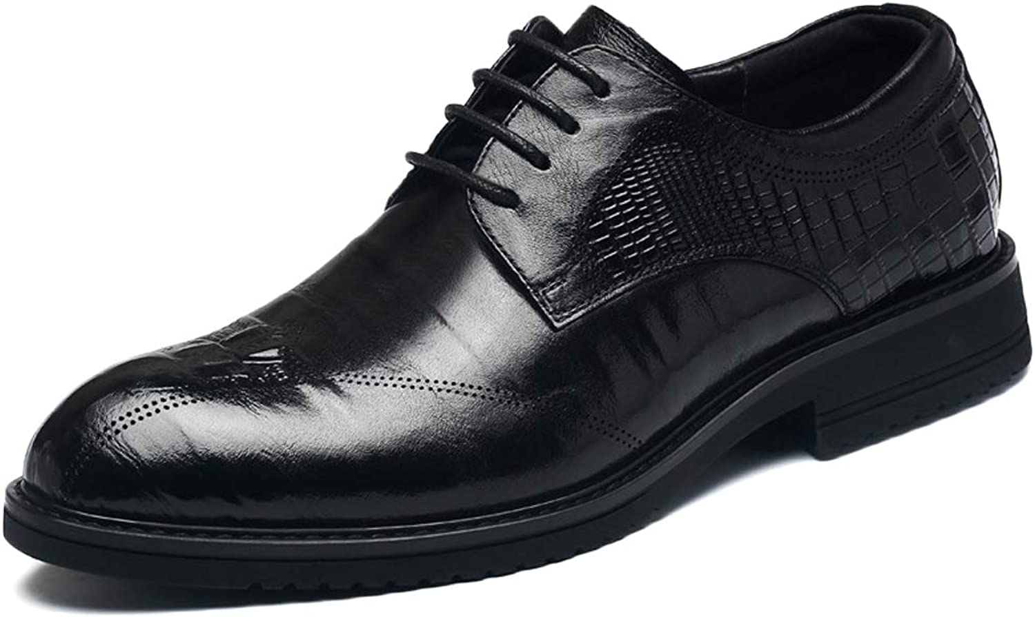 GanSouy Men's Business Casual Black Leather Lace-Up shoes Vintage Office Red Work Derby Smart Formal Wedding Dress Brogue Oxfords Low-top shoes