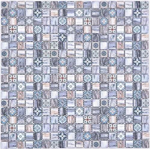 Mosaico de mosaico de cristal, diseño retro, color azul claro