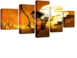 ZHFFYY Canvas Painting 5 Piece Modular Canvas Wall Art Pictures 5 Pieces India Lord Rama Paintings Hd Printed Retro Abstract Poster Living Room Decor Framework