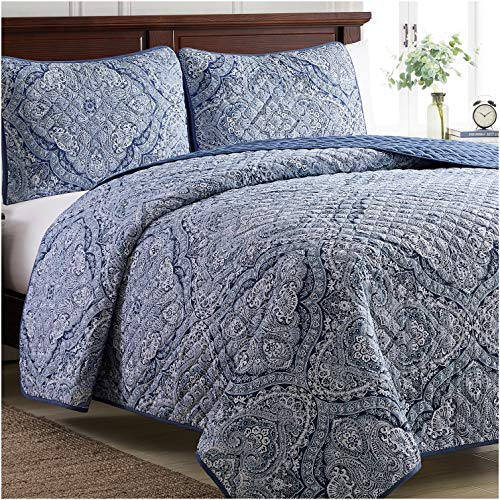 Mellanni Bedspread Coverlet Set Medallion-Blue - Comforter Bedding Cover - Oversized 3-Piece Quilt Set (Full/Queen, Medallion Blue)