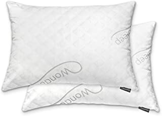 WonderSleep Premium Adjustable Loft- Shredded Hypoallergenic Memory Foam For Home & Hotel Collection + Washable Removable Cooling Bamboo Derived Rayon Cover - 2 Pack Queen