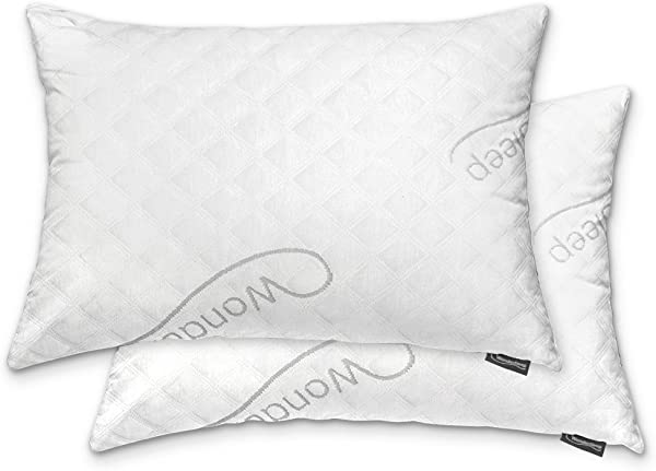 WonderSleep Premium Adjustable Loft Shredded Hypoallergenic Memory Foam For Home Hotel Collection Washable Removable Cooling Bamboo Derived Rayon Cover 2 Pack Queen