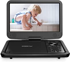 "COOAU 12.5"" Portable DVD Player with HD Swivel Screen, 5 Hours Built-in Rechargeable Battery, Region Free, Support USB/SD Card, 3.5mm Audio Jack, Remote Control, Resume Playback, Black"