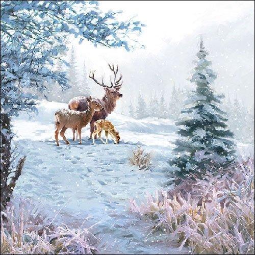 Servietten Hirschfamilie 20 Stk/Packung 33 x 33 cm neu Weihnachten Wald Winter
