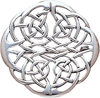 Round Celtic Knot Elegant Weave Sterling Silver Brooch Pin