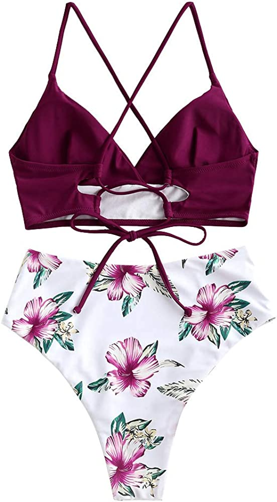 ZAFUL Women's Plunging Neck Floral Surplice High Cut Two Piece Tankini Swimsuit