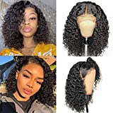 Larhali Short Curly Bob Wigs Brazilian Virgin Human Hair 13x4 Lace Front Wigs Kinky Curly Hair For Black Women Pre Plucked with Baby Hair 150% Density (12inch, 13x4)