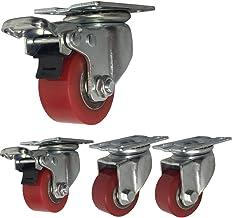 4 Industriële Castor Wielen 40mm/50mm Zware zwenkwielen 1000kg Stille PU Plaat Swivel wielen met rem stalen beugel Ijzeren...