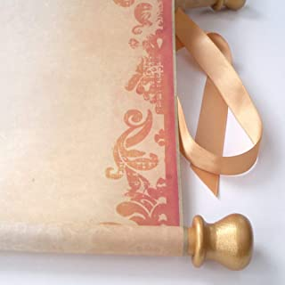 Extra wide blank scroll, aged damask design, gold accents, 11x18