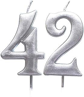 شمعة رقمية لعيد الميلاد الثاني والأربعين من MAGJUCHE فضية اللون رقم 42 شموع تزيين حفلات للنساء والرجال
