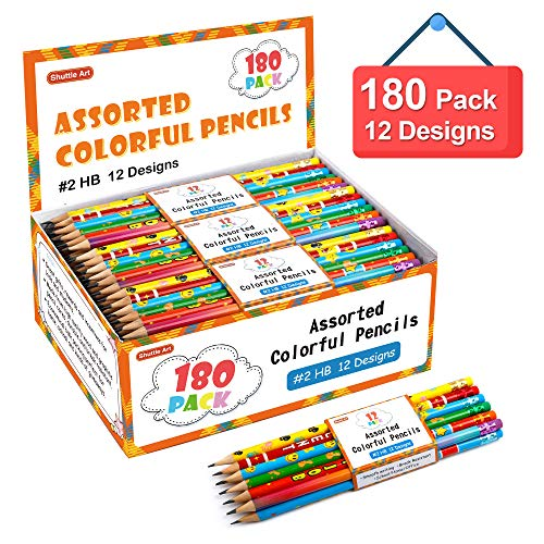 Assorted Colorful Pencils, Shuttle Art 180 Pack Kids Pencils Bulk with 12 Designs, 2 HB, Pre-sharpened Awards and Incentive Pencils for Kids School Home Party Christmas Halloween Valentines Day