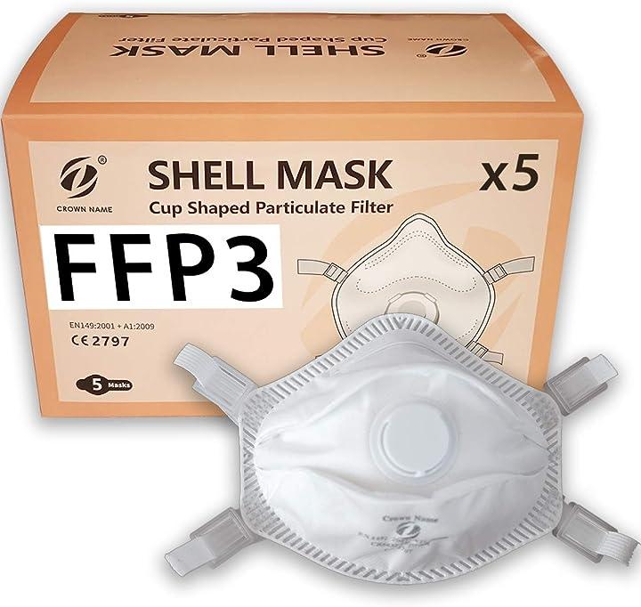 Mascherine ffp3  certificate e conformi ce protettive respiratori facciali con valvola, confezione da 5 B08FXL7224