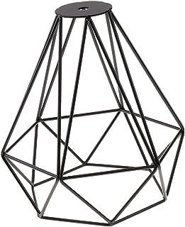 Baoblaze Old Fashion Wire Diamond Pendant Lounge Ceiling Light Cage Lamp Shade Black, Lighting Fixtures - Black
