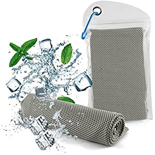 Diswoe cooling towel, Ice Towel, Soft Breathable Chilly Towel- Microfiber Towel for Yoga, Sport, Running, Gym, Workout,Camping, Fitness, Workout & More Activities (Grey)