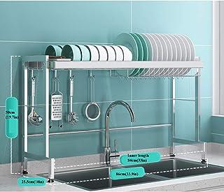 GOHHK Égouttoir à Vaisselle sur évier, étagère en Acier Inoxydable pour égouttoir à Vaisselle, comptoir de Cuisine, Organi...