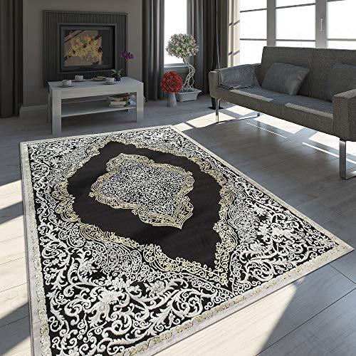 Paco Home Alfombra Oriental Moderna Efecto 3D Jaspeada Brillante Ornamentos En Negro Y Dorado, tamaño:80x150 cm