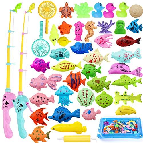 TATAFUN Angeln Spielzeug, Baby Badespielzeug Badewannenspielzeug Wasserspiel Perfekt Lernspiel Geschenk Sandspielzeug Gartenspielzeug Outdoor Spiele für Kinder (45 Stück)