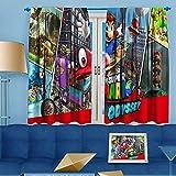 Ficldxc Super Mario Cortinas opacas para dormitorio o habitación oscurecimiento (Super Mario Galaxy Flight), poliéster, Color09, W52 x L63 Inch