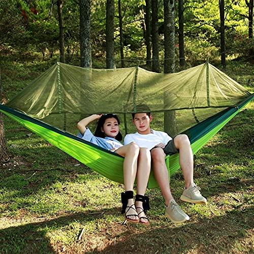 Eeayyygch - Amaca con zanzariera da campeggio e antipioggia, portatile, per campeggio all'aperto, zaino in spalla, escursionismo (colore: Colorblock)