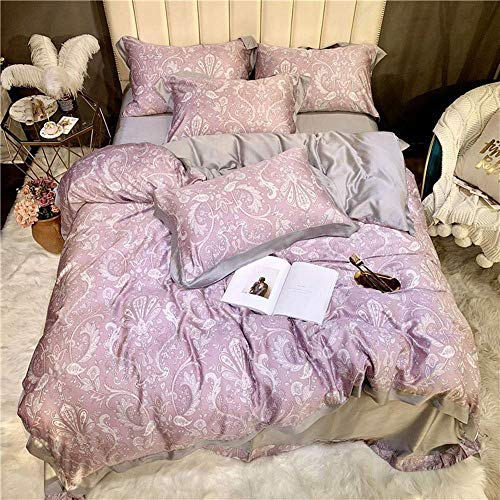 Chtom Bedding Pink Color Satin Material Printing White Flower Pattern Quilt Bed Linen Bedding A Family of Four Hotel-Style Gift Gift Set (Size : 220 240cm) (Color : -, Size : 200230cm)