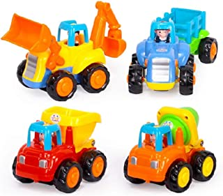 Toys 2 Discover Set of 4 Friction Powered Cars, Push and Go Construction Vehicle Play Set, Tractor,Bulldozer,Cement Mixer,and Dumper Truck