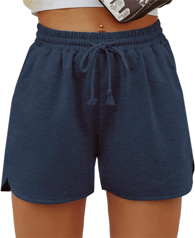 SheIn Women's Solid Stretchy Drawstring Waist Track Shorts