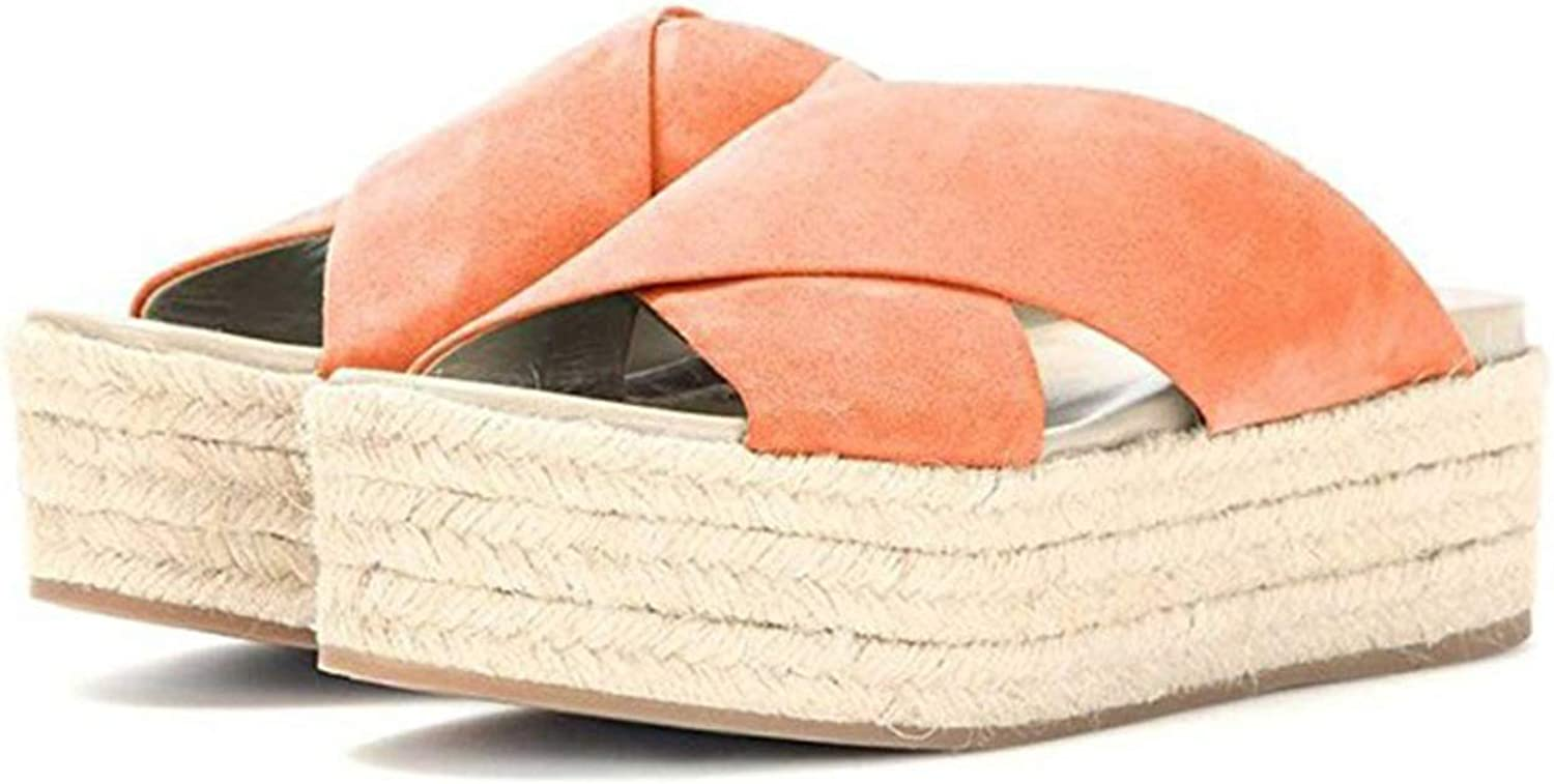 Meet at Autumn-slipper Platform Straw Slides Slippers Mid Heel Womens shoes Flat with Big Size 45 46 Summer Comfortable Casual Footwear