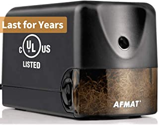 AFMAT Electric Pencil Sharpener Heavy Duty, Classroom Pencil Sharpener for 6.5-8mm No.2/Colored Pencils, UL Listed Industrial Pencil Sharpener w/Stronger Helical Blade, Best School Pencil Sharpener