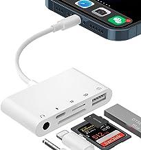 SD-Kartenleser-Adapter für iPhone, 5-in-1-USB-OTG-Kamera-Adapter mit USB-Kamera-Lesegerät und 3,5-mm-Kopfhörerbuchse SD/T...