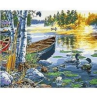 数字油絵 Diy デジタル 油絵子供大人初心者ギフDIY 数字油絵 のための数字によるペイント 家の壁アート落書き装飾カスタムギフト- 湖のオシドリ 40x50 cm(フレームレス)