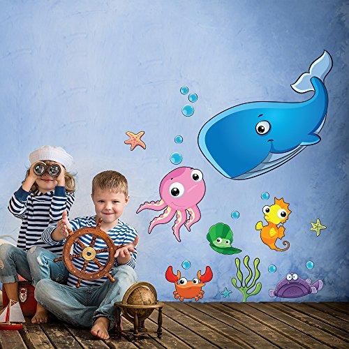 wall art r00340 Sticker Mural pour Enfants, sous l'eau Monde, 30 x 120 x 0,1 cm, Multicolore