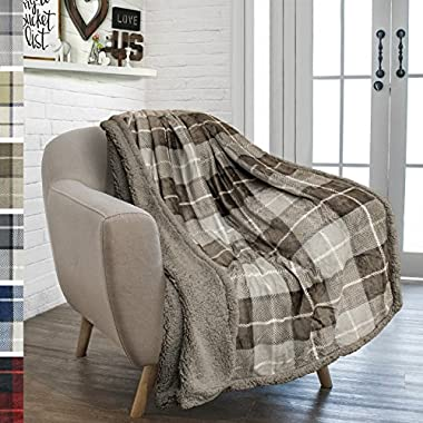 PAVILIA Premium Plaid Fleece Sherpa Throw Blanket | Super Soft, Cozy, Lightweight Microfiber, Reversible, All Season for Couch or Bed (Taupe, 50 x 60 Inches)