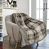 PAVILIA Premium Plaid Sherpa Fleece Throw Blanket | Super Soft, Cozy, Plush, Lightweight Microfiber, Reversible Throw for Couch, Sofa, Bed, All Season (50 X 60 Inches Brown Taupe)