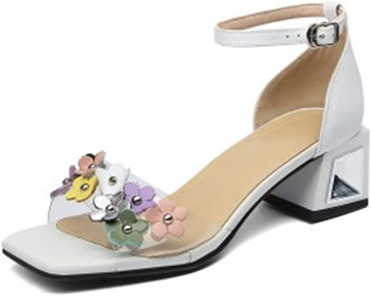 Flower Perspex Heels Cow Leather Buckle Strap Open Toe White Party Heeled Sandals Summer