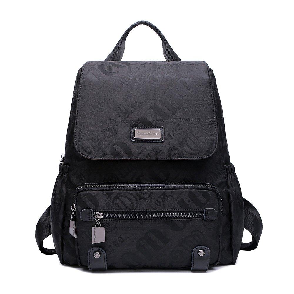 双肩包女包帆布背包新款韩版潮流时尚帆布女包品牌背包旅行旅游包 (升级版, 黑色乱字母)