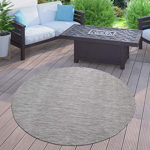 Paco Home In-& Outdoor Teppich Balkon Terrasse Küchenteppich Einfarbig Meliertes Muster, Grösse:120 cm Rund, Farbe:Grau