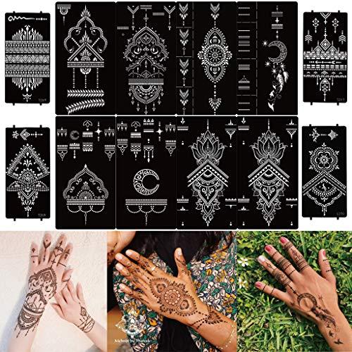 Plantillas de Tatuajes Temporales, 12 Hojas Plantilla de Tatuaje para Manos