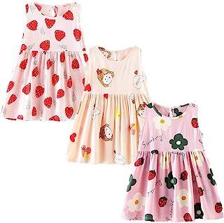 XM-Amigo - Vestido de verano para niñas, diseño de flores, sin mangas, para niña, 6 meses y 10 años
