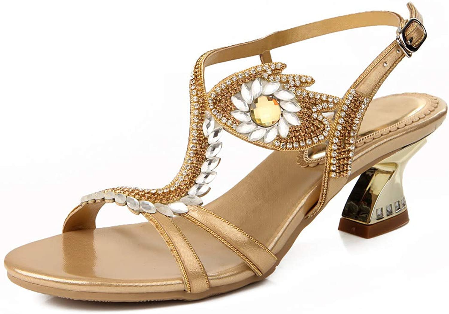 LLBubble Kitten Heels Rhinestone Sandals for Wedding Bridal Open Toe Buckle Leather Prom Evening Party Ladies Summer Sandals ZX-L003