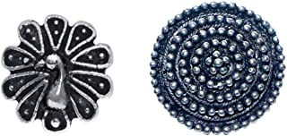 Abhooshan Combo of Designer and Tribal look Big Silver Alloy Nose Pin and Peacock Nose Pin/Studs for Women and Girls. Pier...