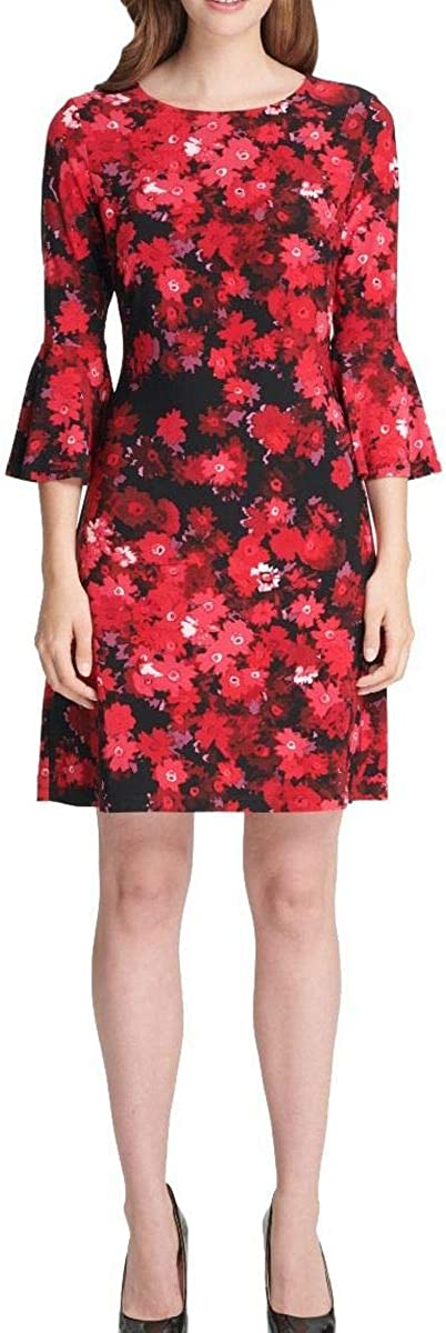 Tommy Hilfiger Womens Floral Ruffled Cocktail Dress Black 2
