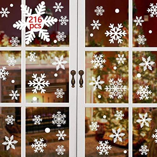 CMTOP 216 PCS Schneeflocken Weihnachten Fenstersticker Weihnachten Fensterbilder Abnehmbare Fensterdeko Statisch Haftende PVC Aufkleber Winter Dekoration