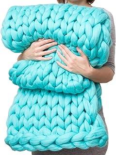 LICHUXIN Couverture tricotée faite à la main pour canapé, animal domestique, décoration de chambre à coucher (couleur : bl...
