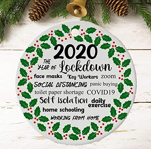 2020 Christmas Ornament | Lockdown Hanging Tree Decoration | Novelty 2020 Keepsake Ceramic | Quarantine | Pandemic | Coronavirus