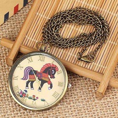 FENKOO Frauen Pferd Muster runden Zifferblatt Quarz-Legierung Halsketten-Uhr grüne Patina (1pc)